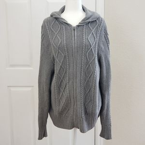 Gap Gray Thick Cable Knit Hooded Sweater XL